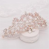 wedding photo - Crystal Wedding Crown Pearl Bridal Crown Rose Gold Wedding Crown Pearl Bridal Tiara Crystal Hair Accessory Baroque Bridal Tiara
