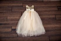wedding photo - Gold Sequin Flower Girl Dress, Champagne Tulle Flower Girl Dresses, Romantic Ball Gown