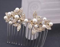 wedding photo - bridal hair comb silver and pearl hair pins Wedding hair comb Gold Bridal comb Rhinestone hair comb Wedding comb Vintage style Boho hair pin