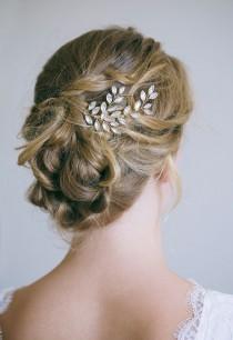 wedding photo - Crystal hair comb, Bridal hair comb, Gold hair comb, Gold Hair vine, Crystal leaf hair comb, Gold bridal headpiece, Rhinestone hair comb