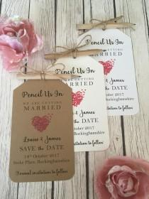 wedding photo - Save the Date Vintage/Rustic Pencil Us In Vintage/Rustic Heart Wedding Save the Date tags, pencil, twine with magnet/fridge magnet