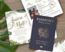 wedding photo - Tropical Beach Wedding Passport Destination Invitation Set in Gold with Green Foliage by Luckyladypaper - see details to order