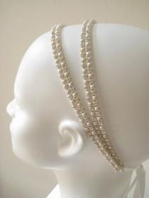 wedding photo - Bridal beaded Czechoslovakia crystal/ivory pearl headband. Rhinestone wedding headpiece.  CREAM & SPARKLE