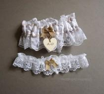 wedding photo - Wedding Garter Burlap Garter Bridal Garter White Lace Garter Lace Wedding Garter Rustic Wedding Garter