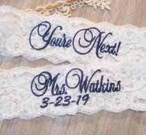 wedding photo - Wedding Garter MANY MONOGRAM COLORS Bridal Garter Floral Stretch Lace Bridal Garter Single Garter