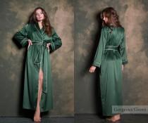 wedding photo - Green Silk Long Dressing Gown • Luxury Satin Bridesmaid Robe • Valentines Gift for Her, Girlfriend & Wife • Sexy Plus Size Womens Nightwear