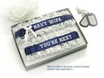 wedding photo - Navy Wedding Garters - Navy Wife Wedding Garters - Navy Nautical Garter Set - You're Next Wedding Garter.