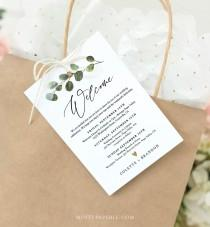 wedding photo - Welcome Bag Tag, Welcome Letter and Itinerary Template, Printable Welcome Note, Order of Events, 100% Editable Text, Templett #082-103WBT