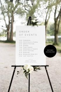 "wedding photo - Wedding Order of Events Poster, Modern Wedding Poster Template, Order of Events Sign, 18x24"" & 24x36"", Edit with TEMPLETT, WLP-MIN 1909"