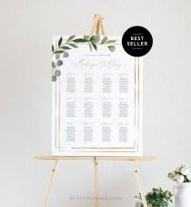 wedding photo - Printable Seating Chart Template, Wedding Seating Sign, Instant Download, 100% Editable Text, Greenery, US & UK Poster Sizes, DIY #056-226SC