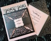 wedding photo - Glitter & Lace Wedding Invitation,  Laser Cut Wedding Invitation,  Black and Pink Wedding Invitation