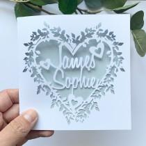 wedding photo - Personalised Floral Heart Papercut Name Card, Wedding Card, Anniversary Card, Thank You Card, Couple Card, Paper Anniversary, Wedding Gift