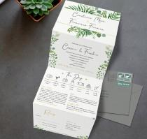 wedding photo - Greenery Wedding Invitation, Eucalyptus Wedding Invite, Floral Wedding Invites, Wedding Invitations Rustic, Folded, Menu, Green, RSVP, Gold