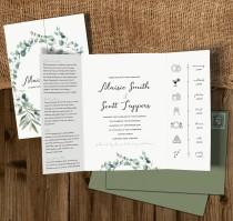 wedding photo - Wedding Invitation, Gatefold Wedding Invites, Folded Wedding Invite, Timeline Wedding Invitation, Invitations Wedding, Olive, Greenery