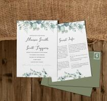 wedding photo - Olive Wedding Invitation, Greenery Wedding Invites, Rustic, Country Wedding, Wedding Invite With Menu, Wedding Invitations With Envelopes