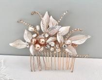 wedding photo - Bridal hair piece, Rose gold Leaf Hair comb , Stunning Bridal Headpiece, Hair accessories for the discerning bride, Wedding statement,