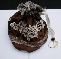 wedding photo - Chocolate ivory handmade steampunk bag, steampunk purse, drawstring bag, Wedding bag, Regency purse, beaded wedding purse, reticule