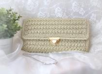 wedding photo - Wedding bag for bride, nuptials pochette with gold closure, crochet bags handmade, accessories for hymeneals, present for valentine's day.
