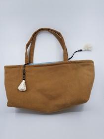 wedding photo - Handmade Canvas Tote Bag, Brown Canvas Tote Bag, Blue And Brown Handbag, Polka Dot Pouch, White Tassel Handbag, Long Tote Bag, KirsaK