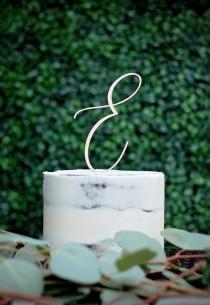 wedding photo - Monogram Cake Topper, Letter Wooden Cake Topper, Script Letter, Cake Topper, Rustic Wedding Cake Topper, Custom Cake Topper
