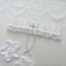 wedding photo - Ivory lace wedding garter, something blue bridal garter, crystal garter