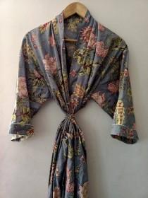 wedding photo - Indian Floral Japanese kimono Robe Kimono cardigan Nights costume Body coverups Indian Handblock Cotton Kimono Robe For Women Bridesmaid Rob