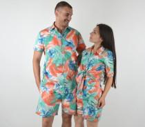 wedding photo - Couple Matching Hawaiian Shirts, Couple Outfits, Hawaiian Dress, Summer Shirt Shorts Colorful Honeymoon Girlfriend Boyfriend Gift Hawaii