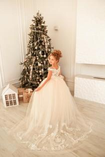 wedding photo - Flower girl dress Lace girl dress Tulle flower girl dress Blush flower girl dress train Wedding girl dress Baptism dress Princess girl dress