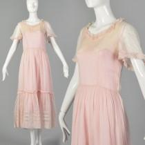wedding photo - XS 1930s Sheer Pink Cotton Dress 30s Sheer Dress Vintage Tea Dress 1930s Maxi Dress 30s Pink Dress Lawn Dress