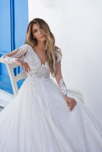 wedding photo - Wedding dress long sleeve Wedding dress a line Open back wedding dress Bridal gown Wedding dress ivory Wedding dress long train