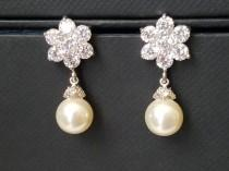 wedding photo - Pearl Flower Earrings, Swarovski Ivory Pearl CZ Earrings, Wedding Bridesmaids Pearl Earrings Pearl Drop Earrings Wedding Ivory Pearl Jewelry