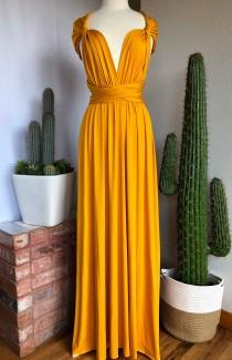 wedding photo - MUSTARD Bridesmaid Dress/ CUSTOM LENGTHS/ Convertible Dress /  Infinity Dress/ Multiway Dress/  Multi Wrap Dress /  Plus Size /