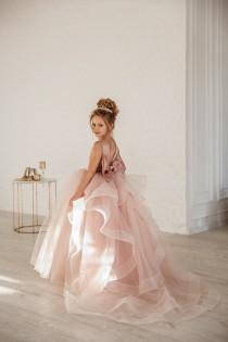 wedding photo - Girl wedding dress  Blush flower girl dress  Princess dress Dusty rose flower girl dress Satin flower girl dress Toddler dresses