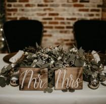 wedding photo - Mr and Mrs Sweetheart Table Signs, Wooden Wedding Signs, Rustic Wedding Signs, Wedding Table Wood Signs