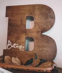 wedding photo - Engraved Large 3D Wood Initial Guest Book/ Wedding Sign/ Wedding Guest Book/ Newly Wed Gift/ Wedding Shower Sign/ Large Wood Letters/Nursery