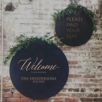 wedding photo - Round Wedding Welcome Sign by Rawkrft - Rustic Wood Wedding Sign - Custom Wedding Sign - Bridal Shower Sign - UV Stained And Fade Resistant