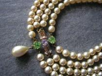 wedding photo - 4 Strand Pearl Choker, Vintage Pearl Choker, Vintage Pearls, Amethyst, Peridot, Cream Pearls, Statement Choker, Bridgerton Jewelry