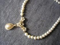 wedding photo - Rosita Pearl Necklace, Vintage Pearl Choker, Bridal Pearls, Pearl Drop Necklace, Dainty Pearls, Pearl Wedding Jewellery, Bridal Jewellery