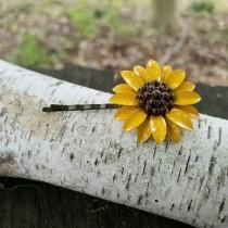 wedding photo - Sunflower Hair Pin Enamel Flower Bobby Pin 38mm Yellow and Brown Metal Flower ACC65