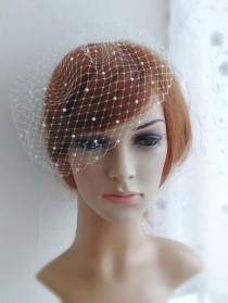 wedding photo - Bridal birdcage veil with pearls, Wedding pearl blusher veil, Bird cage vail head piece, 9 Inch Birdcage Russian French Netting