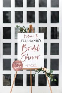 wedding photo - Rose Gold Bridal Shower Welcome Sign Template Welcome Bridal Shower Sign Pink Gold Bridal Shower Rose Gold Calligraphy Bridal Shower #WP390