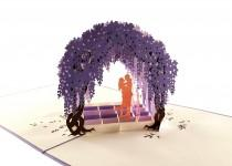wedding photo - Cute Wisteria Arbor 3D Pop Up Greeting Card - Romantic, Private, Dreamy, Just Because, Thinking of You, Engagement, Anniversary, Engagement