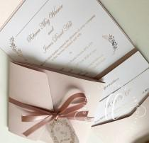wedding photo - Foil pocket fold wedding invitation real foil gold silver rose gold