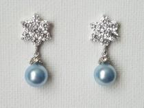 wedding photo - Light Blue Pearl Earrings, Swarovski Light Blue Pearl Drop Silver Earrings, Blue Pearl Bridal Earring, Flower CZ Pearl Earrings Blue Jewelry