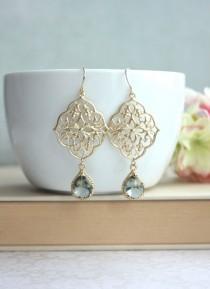 wedding photo - Grey Art Deco Earrings, GypsyFiligree Earrings, Ornate Earrings, Chandelier Earring, Grey Black Earring, Gold Boho Earring, Bridesmaids Gift