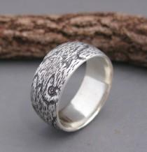 wedding photo - WIDE woodgrain ring BIRDSEYE MAPLE 8mm sterling Made To Order