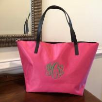 wedding photo - Pink Monogram Tote Bag, Womens Tote Bag Personalized Multipurpose Tote Bag, Nylon Tote Bag, Bridesmaids Gifts, Gift for her, Market Bag