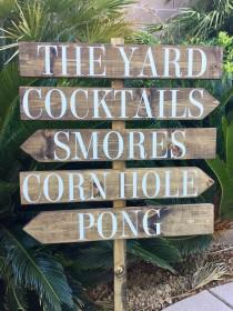 wedding photo - Lawn Games Sign, Directional Wedding Sign, Custom Sign, Welcome Sign, Reception Sign, Backyard Wedding Sign, Rustic Stained, Cocktails Sign