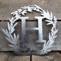 wedding photo - Custom Metal Monogram Spring Wreath - Initial Letter Front Door Hanger Decor - Best Wedding Gift 2021- Front Door Hanging Art-Free Shipping