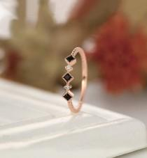 wedding photo - Delicate black onyx wedding band, twist Gold wedding band, rose gold diamond wedding band,Antique stacking matching band,anniversary ring